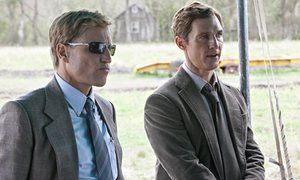 Woody Harrelson as Marty Hart and Matthew McConaughey as Rust Cohle. in True Detective.