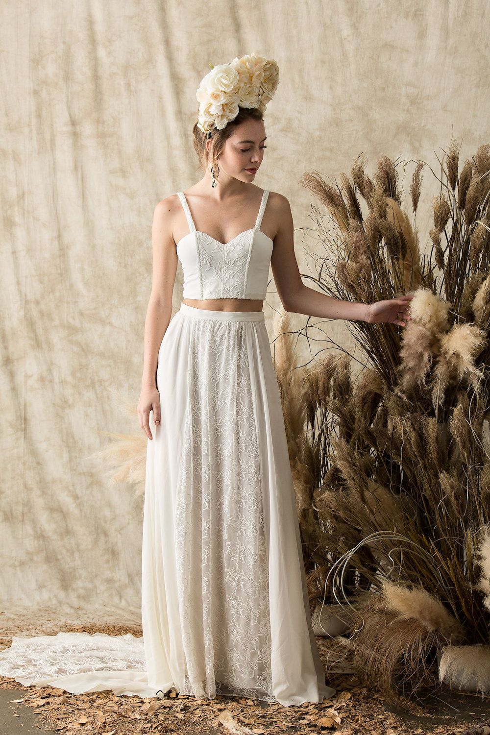 Camelia Silk Two Piece Wedding Dress Crop Top And Skirt With Train Crop Top Wedding Dress Wedding Dresses Two Piece Wedding Dress