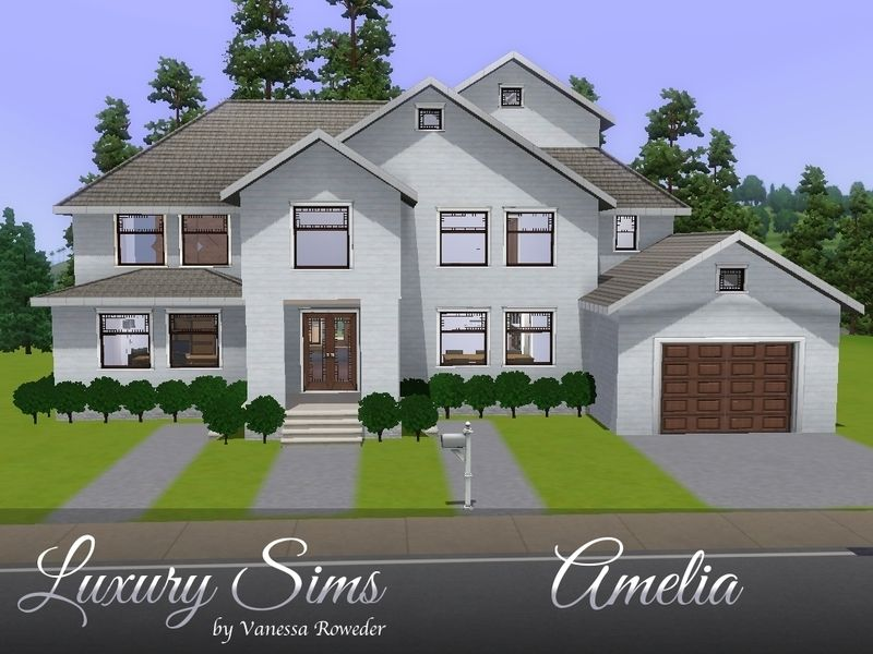 Amelia Is A Beautiful Traditional House For Your Family With 3 Bedrooms 4 Bathrooms Kitchen Dining Room Tv Room Office Loft Bal Random Stuffs Sims House Design Sims 4 Bedroom Sims 3 Houses Ideas