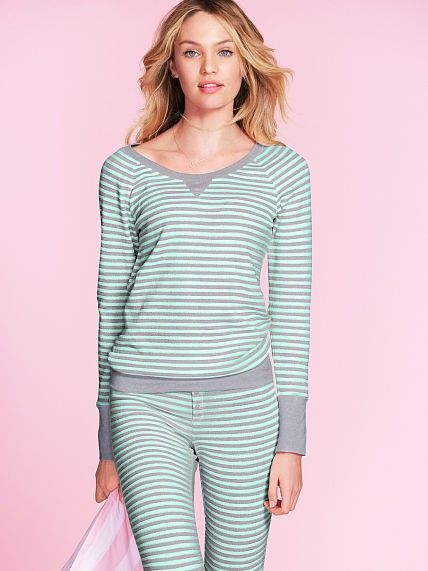 d54afeb3e3fd Mint   Grey metallic stripe cozy cotton thermal pajama for girl ...