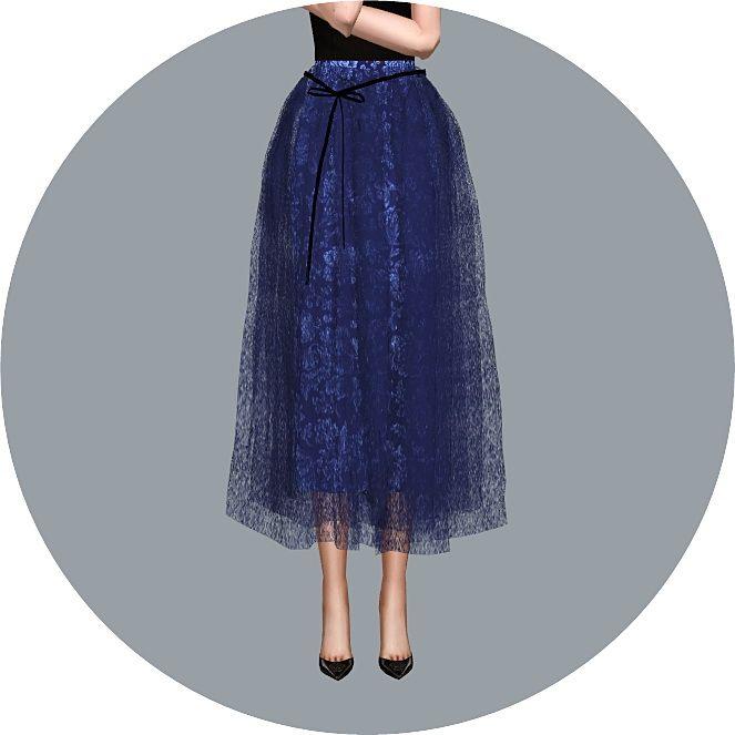 Ribbon Ballerina Long Skirt at Marigold via Sims 4 Updates