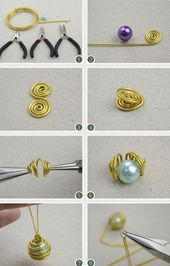 Photo of A pearl of golden aluminum wire and a chain thread these are the Pipapo …