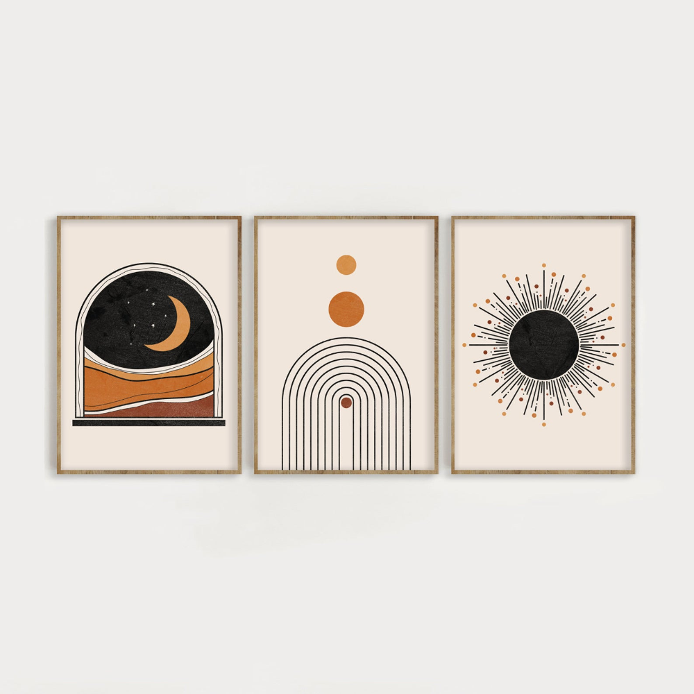 Mid Century Modern Art Print Set of 3, Neutral Geometric Wall Art, Moon, Rainbow