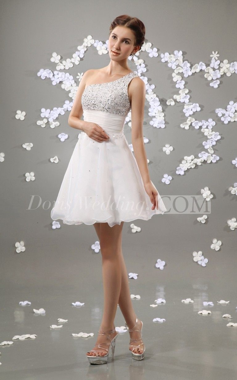 Oneshoulder organza beaded short graduation dress college