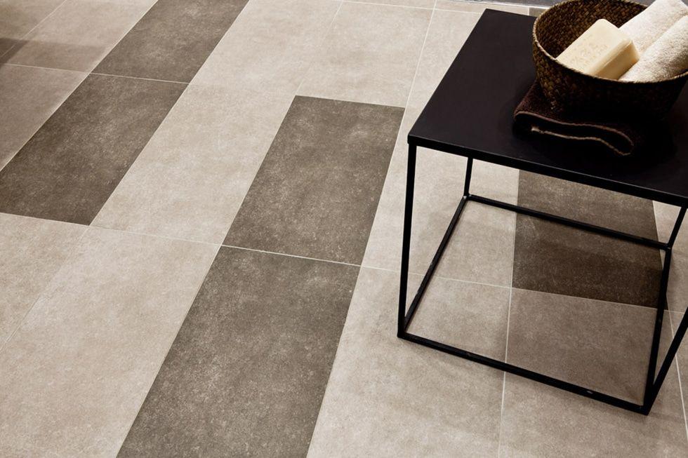 Two Tone Mocha and Cream Linear Bathroom Floor Tiles