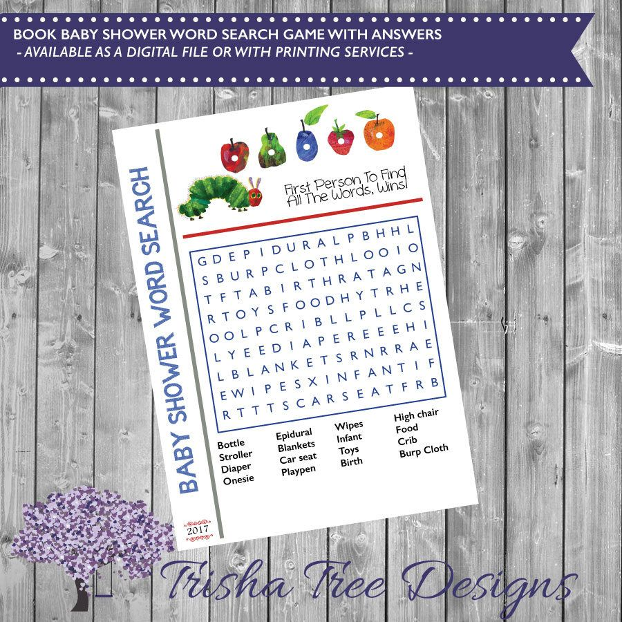 Book Themed Baby Shower Word Search Book Shower Game
