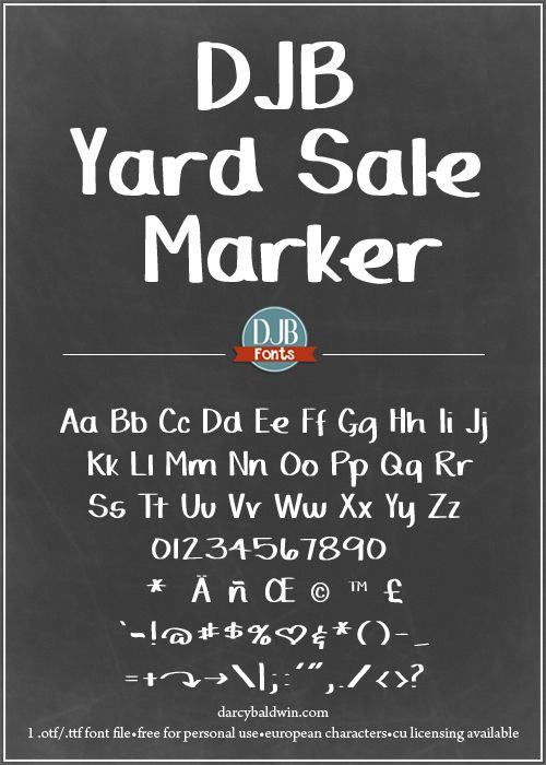 DJB Yard Sale Marker Font is a big bold font, perfect for making really big announcements & bold statements. Free for personal use, CU licensing available.