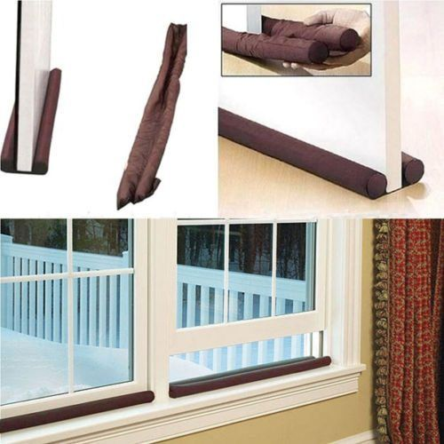 Hot Sale Brown Twin Door Draft Stopper Dual Draught Excluder Air Insulator Windows Dodger Guard Energy Saving For Home Decor & Twin Draft Guard The insulating device for doors with extra large ... pezcame.com
