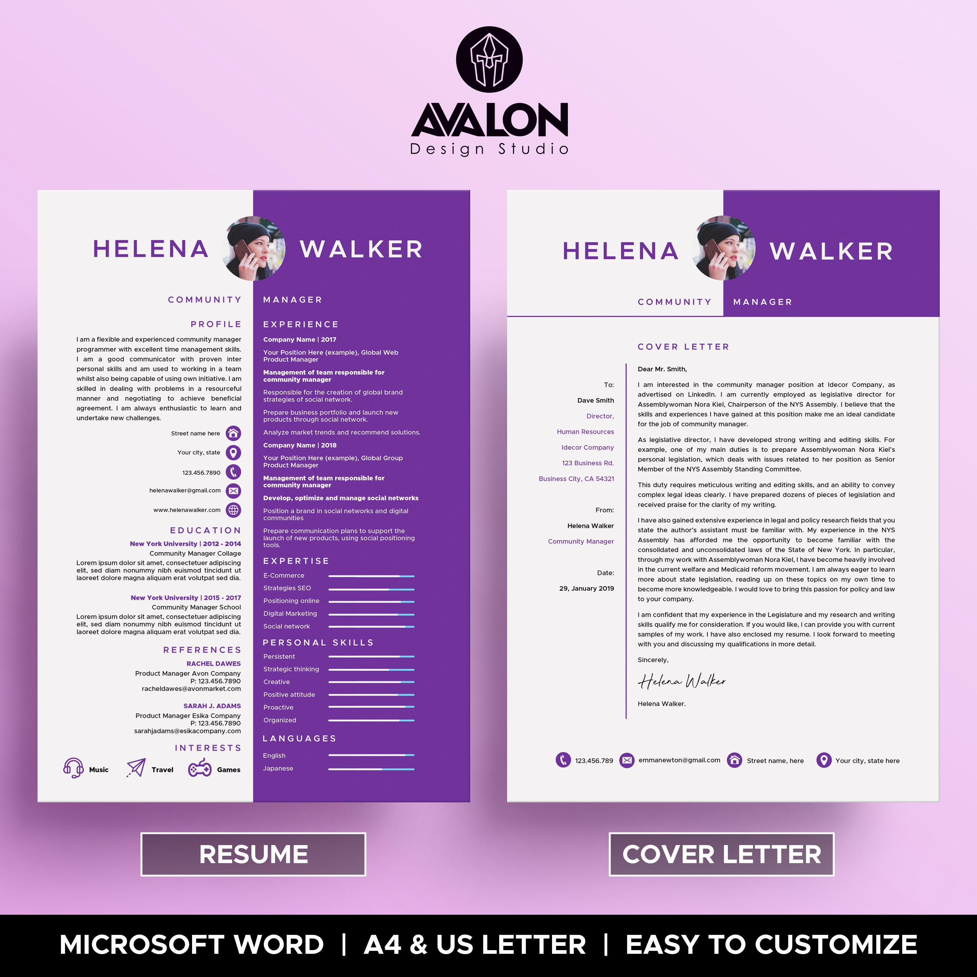 Professional Experience Resume Template For Microsoft Word 2 Pages Full Editable Instant Download Resume Template Resume Words Cover Letter For Resume
