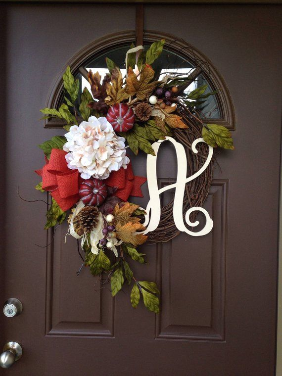 Pumpkin And Hydrangea Wreath   Front Door Decor   Thanksgiving Wreath For Front  Door   Initial Fall Wreath   Everyday Grapevine Wreath
