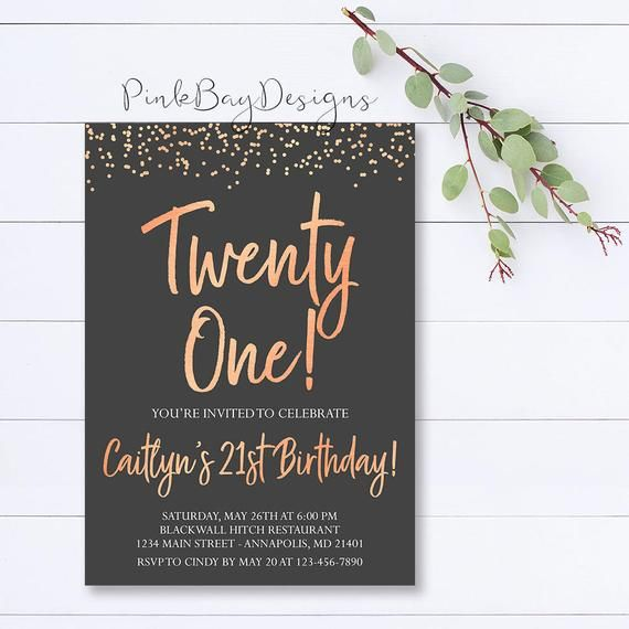 21st Birthday Invitation Rose Gold Age Modern