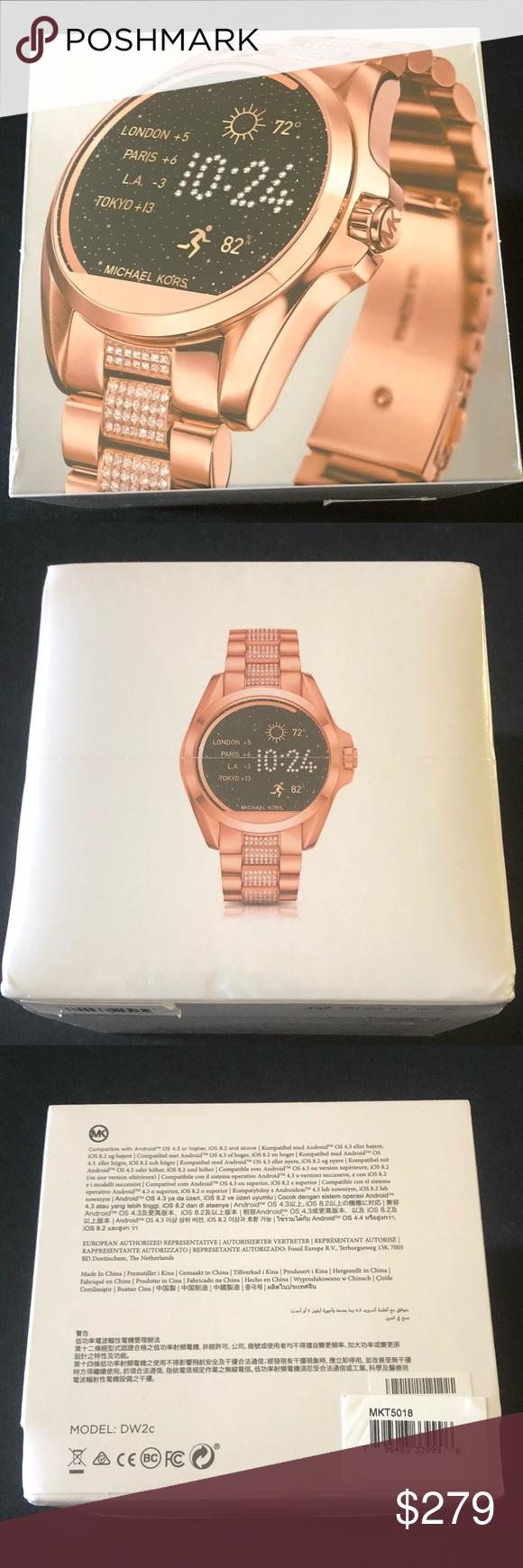 55779a15bc49 Michael Kors Access Bradshaw Smartwatch Rose Gold MKT 5018 Rose Gold Michael  Kors Touchscreen Smartwatch New in Factory Sealed Box iPhone and Android ...