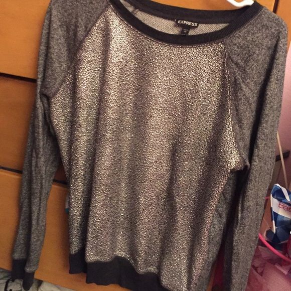Sparkly top Very ideal for those days when you're emotionally over it but still want to be stylish. So comfortable. Love this top. Express Sweaters Crew & Scoop Necks