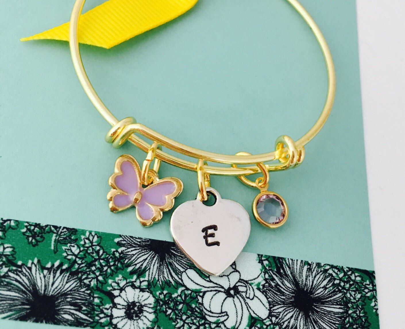 Young girls name bracelet butterfly bracelet personalized girls