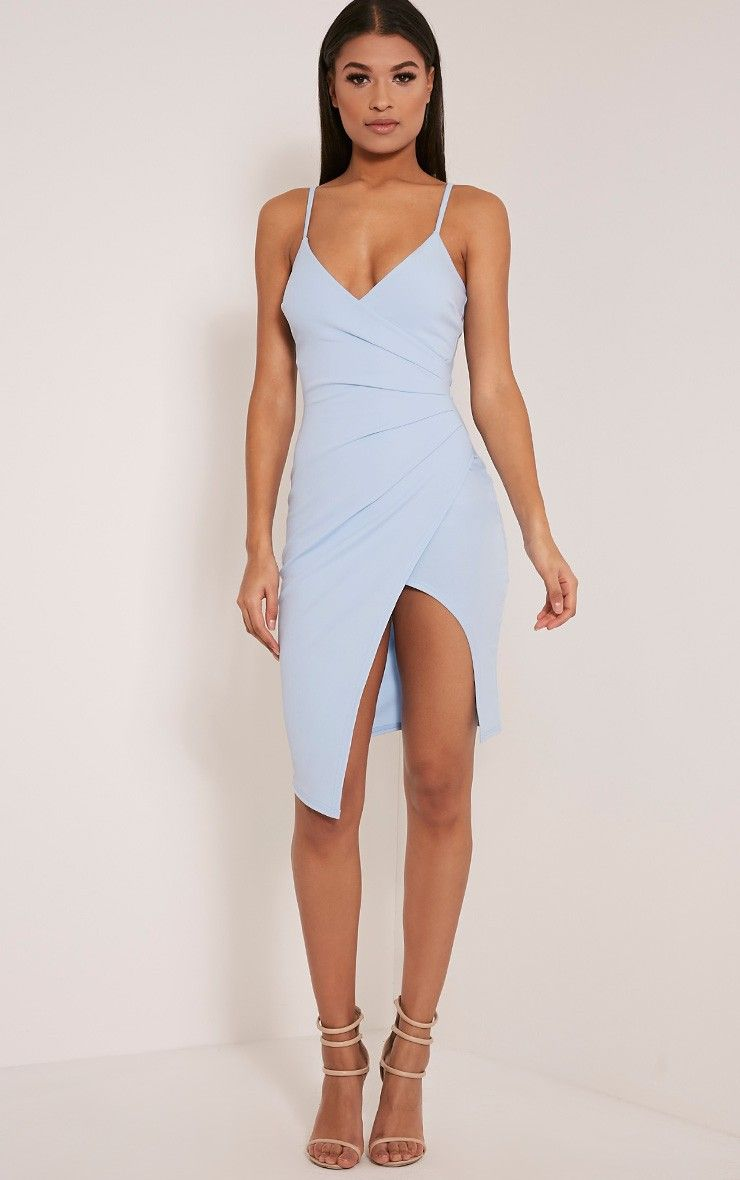 Lauriell Dusty Blue Wrap Front Crepe Midi Dress | In the Closet ...
