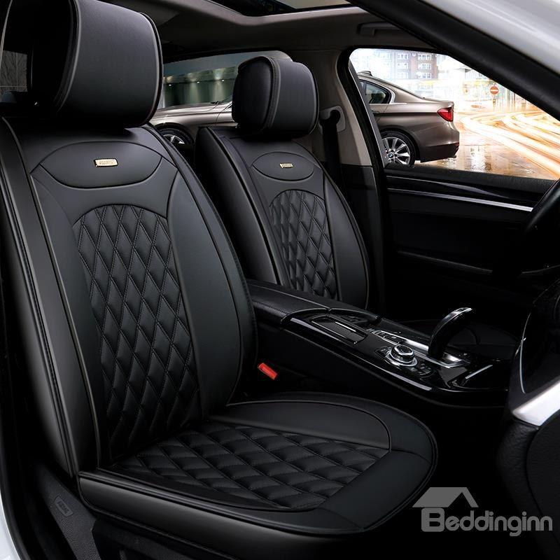 Luxurious Color Brilliancy Plaid Leather Universal Car Seat Cover Leather Car Seat Covers Car Seats Leather Car Seats