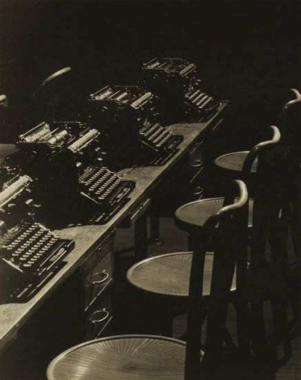 MACRAE, WENDELL (1896-1980)  Typewriters. Warm-toned silver print, 9 7/8x7 7/8 inches (25.1x20 cm.), with MacRae's signature, in pencil, on mount recto, and with his copyright, in pencil and in ink, in an unknown hand, on mount verso. Circa 1936  Estimate 1,500-2,500 USD