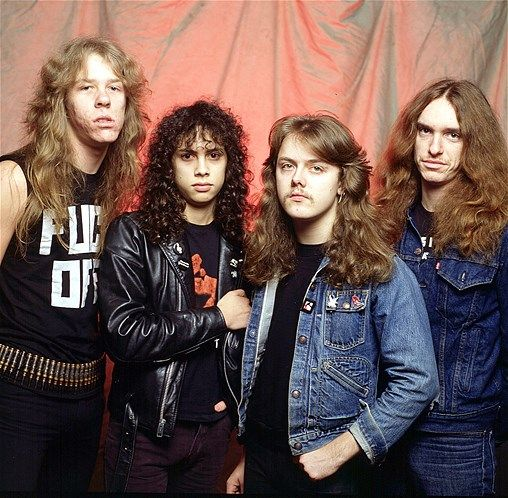Metallica in 1984: James Hetfield, Kirk Hamet, Lars Ulrich and ...