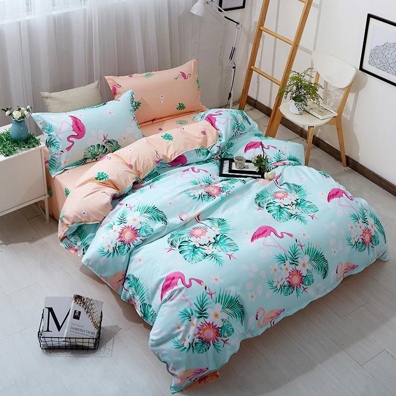 Flamingo Duvet Quilt Cover Set Ultra Soft Comforter Bedding Set Twin Queen Size