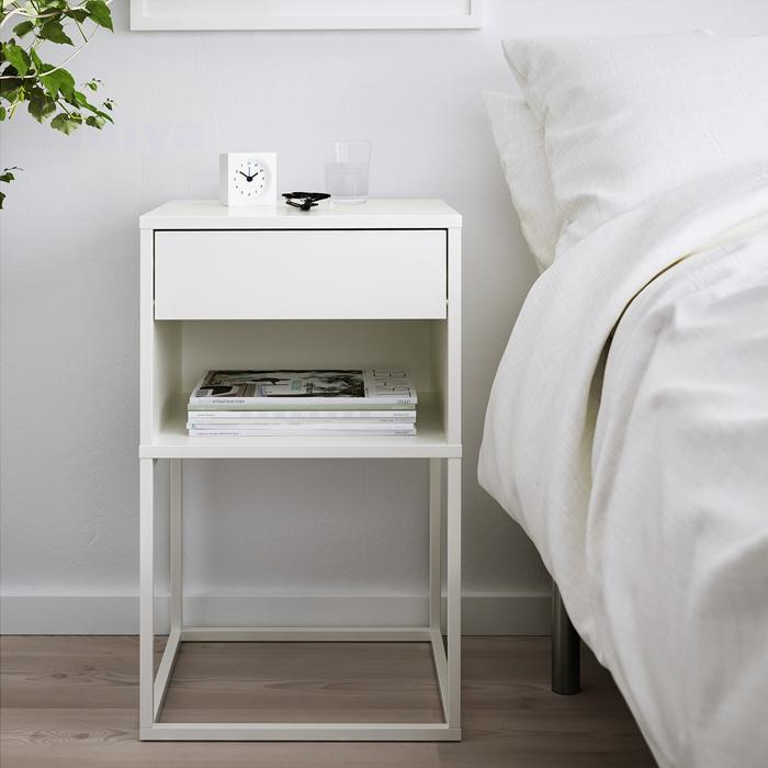 Ikea Vikhammer Bedside Table White, White Lacquer Bedroom Furniture Nz