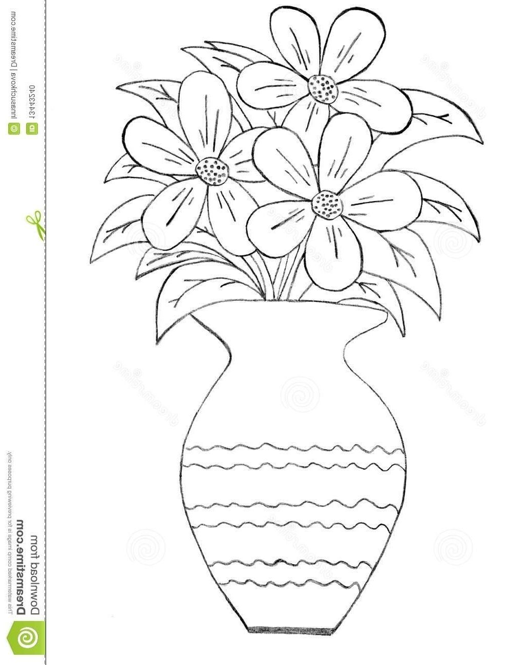 Sketch Images Flower vase drawing, Flower drawing