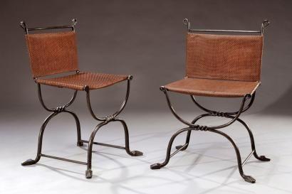 Marcel Coard 1889 1975 Rare Paire De Chaises En Fer Forge Et