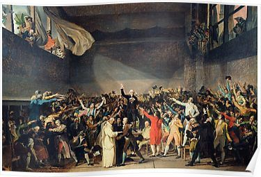 Tennis Court Oath Jacques Louis David French Revolution 1794 Poster By Justonedesign In 2020 French Revolution Poster Wall Art 3d Printed Metal