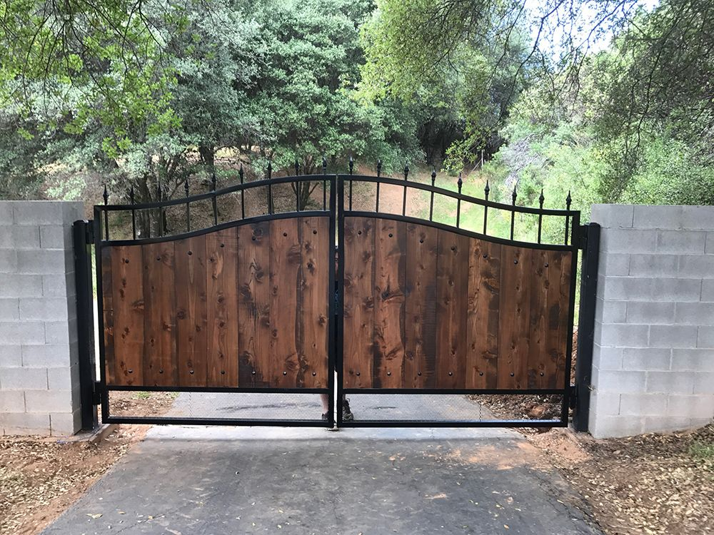 Wood And Wrought Iron Driveway Gate El Dorado County Custom Designed With Inserts In Shingle Springs The