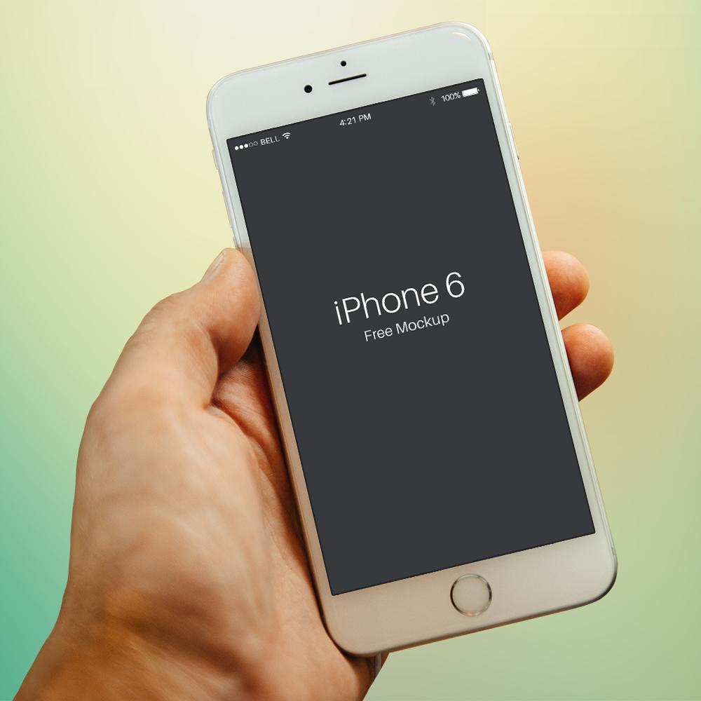 Free PSD iPhone 6 Mockup Template Colseup In Hand   Ipad mockup ...