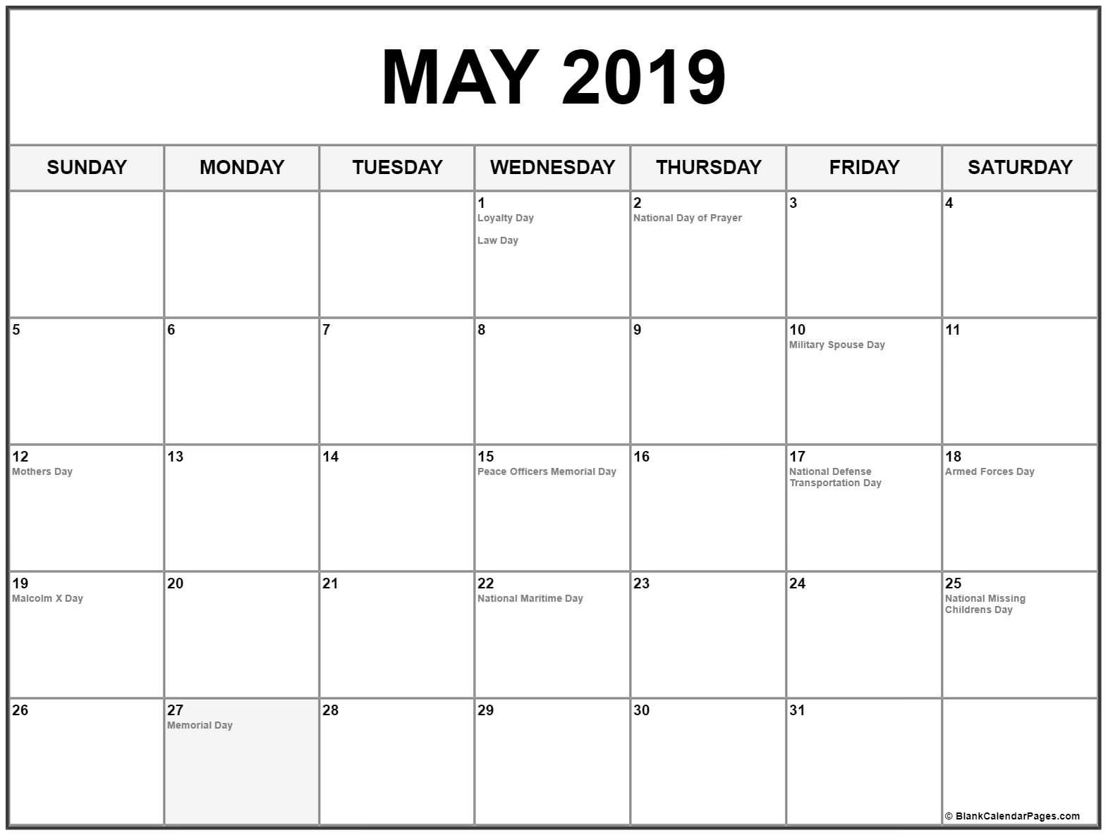 May 2019 Calendar US Holidays | Printable Monthly Calendar