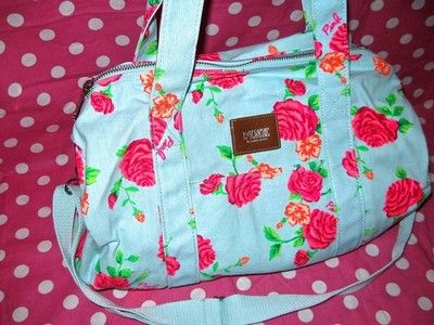 New Victoria Secret ♥ Love Pink ♥ Floral Blue Rose Duffle Mini Backpack Book Bag | eBay