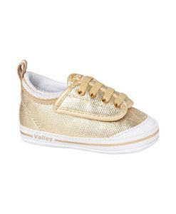 Volley | Metallic Gold | My First Volley Metallic Gold Volley Baby Shoes Add some bling with these classic My First Volley baby shoes in stunning Metallic Gold!  These sweet baby shoes feature a metallic gold canvas upper, cotton lining and elastic laces with a super easy wide Velcro opening.  The flexible soles have rubber grip pads to help those little first walkers!