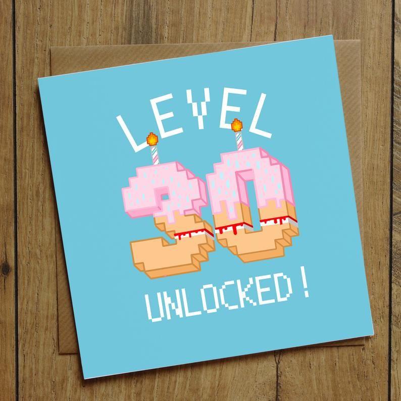 30th Birthday Card Level Unlocked Card Birthday Level Card Big Birthday Card Gamer Birthday Card Personalised Gaming Card Card For Him In 2021 30th Birthday Cards 30th Birthday Funny 30th Birthday Men