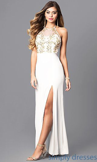 c47521bd9d0 Ivory White Halter Prom Dress with Gold Sequins in 2019