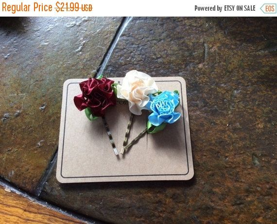On Sale Premium satin ribbon flowers with leaves by EMTWTT on Etsy