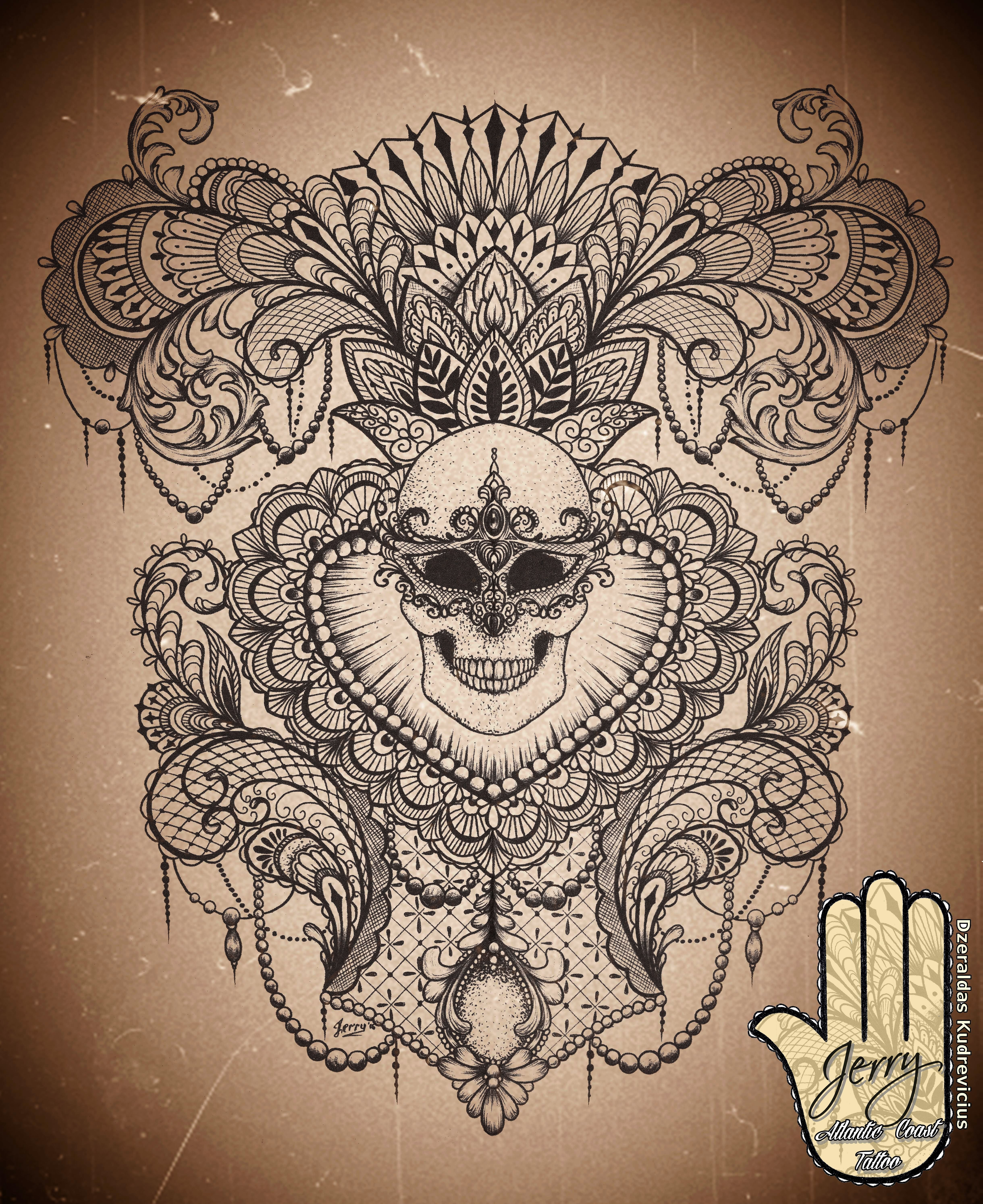 Feminine Back Piece Tattoo Idea Design Skull With Mandala And Lotus Design Beautiful Lace And Mendi Patter Back Piece Tattoo Lace Tattoo Design Pieces Tattoo
