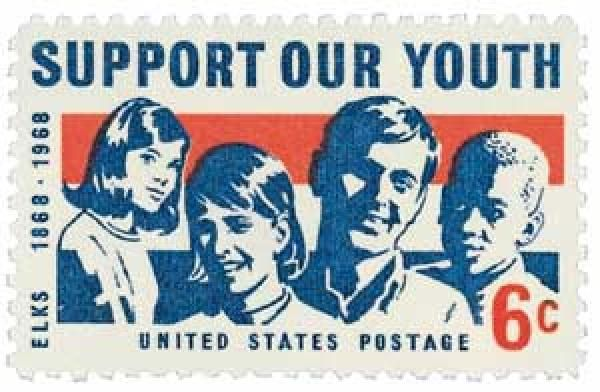 """US 1968 6c """"Support Our Youth"""" - Elks. This stamp honors the youth service program of the Benevolent and Protective Order of Elks, on the organization's 100th anniversary."""