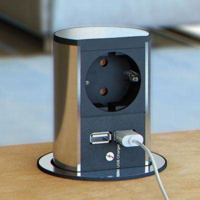 versenkbare Steckdosen inkl USB D  unsere Kche