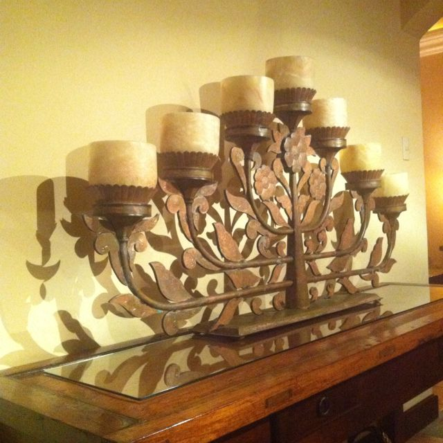 Hall table and lamp in the paseo to the living room in my ...
