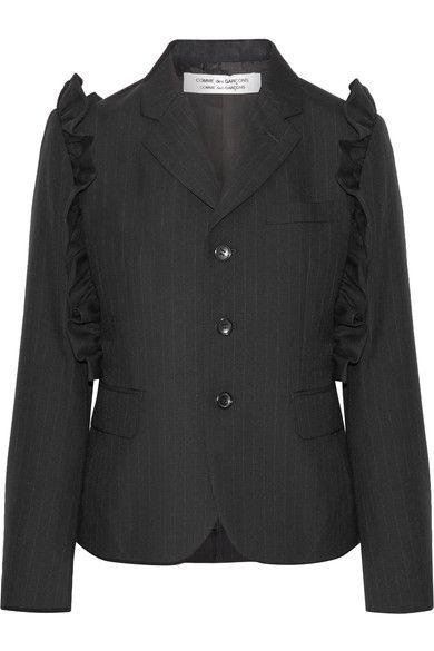 Comme des Garçons Comme des Garçons - Ruffle-trimmed Pinstriped Wool Blazer - Black - small