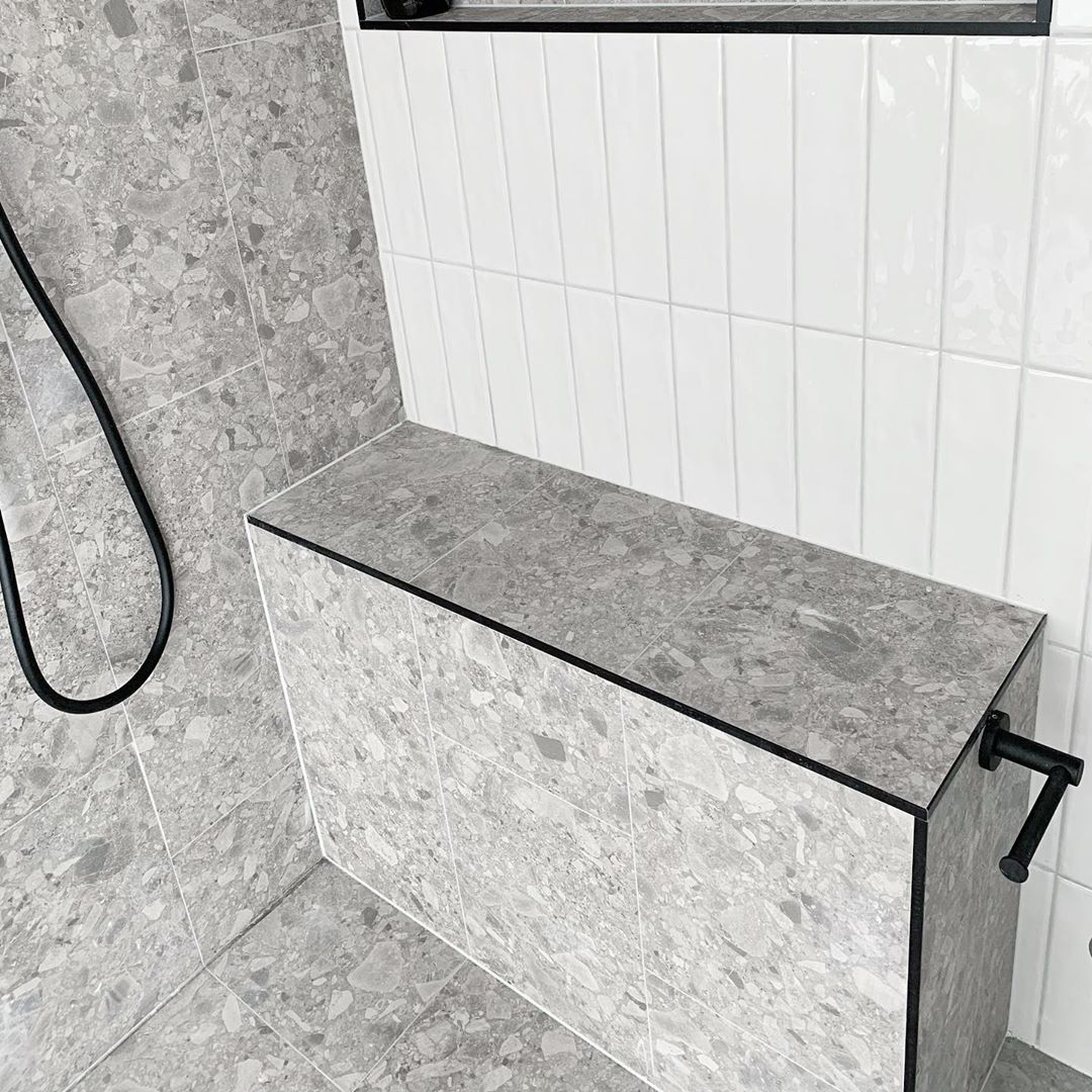 Bathroom Renovation Using Our Grey Natural Terrazzo Look Porcelain Floor Tiles And Wall Tiles 5715 Terrazzo Tile Small Rustic Bathrooms Bathrooms Remodel