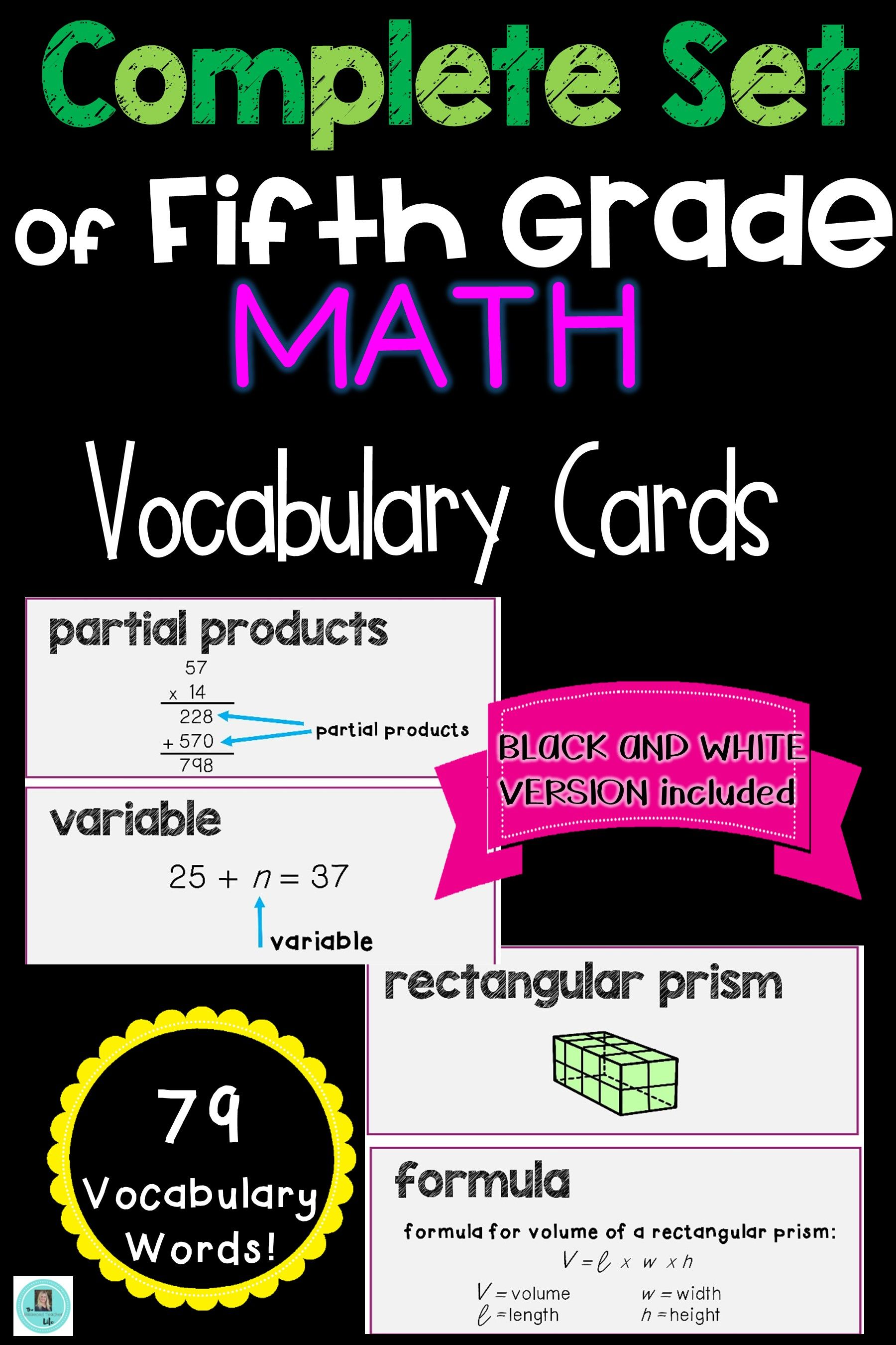 Math Common Core And Envision Program Vocabulary Cards For Grade 5
