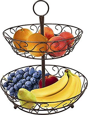 Sorbus 2-Tier Countertop Fruit Basket Holder & Decorative Bowl Stand-Perfect for Fruit, Vegetables, Snacks, Household Items, and Much More (Bronze)