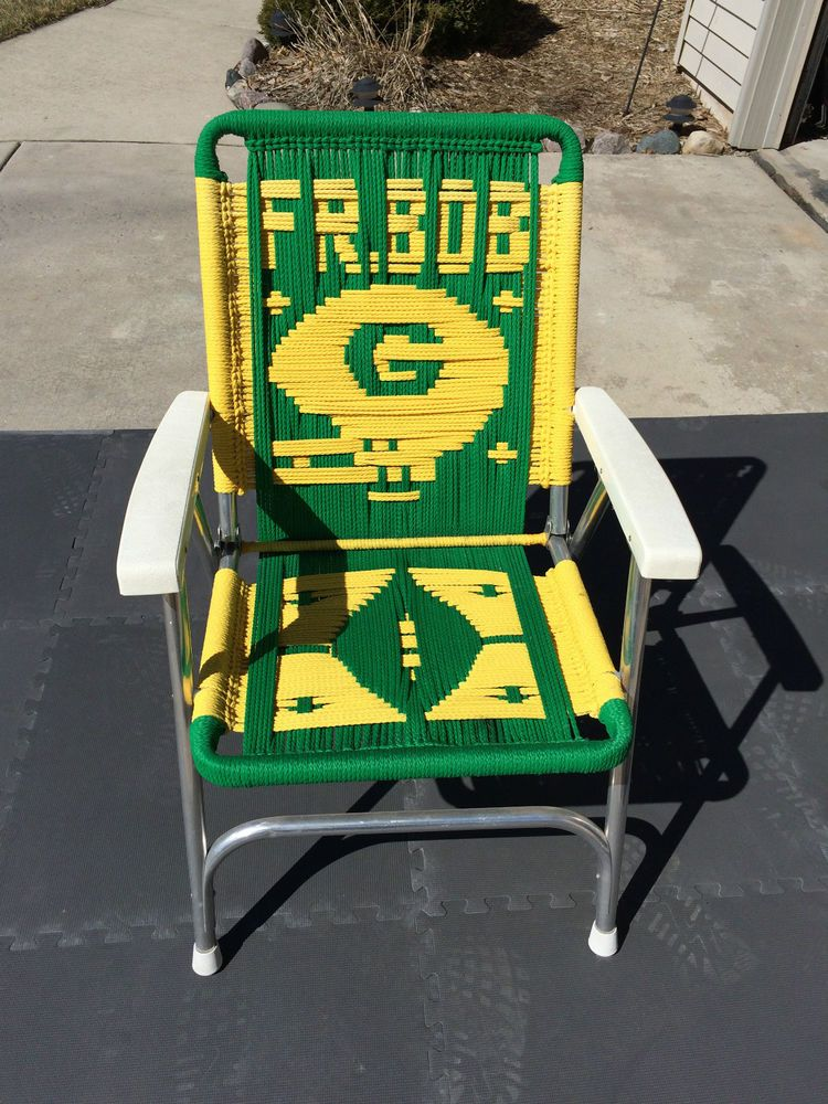 VINTAGE GREEN BAY PACKERS ALUMINUM MACRAME FOLDING TAILGATE LAWN CHAIR  FOR BOB #