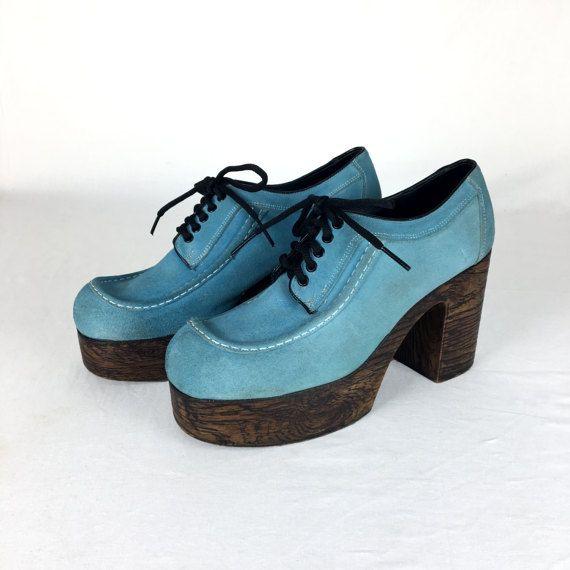 630cf0ef2d5 Vintage 70s DISCO FEVER Blue Suede Platform Shoes Size 11