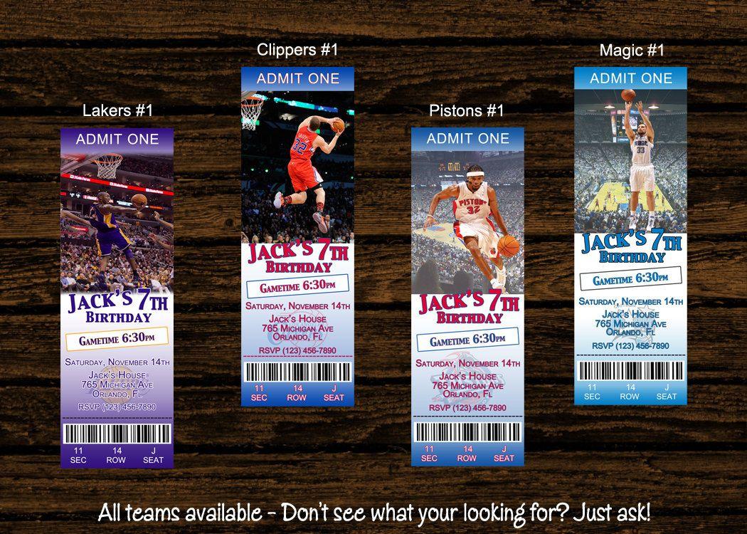Custom NBA Ticket Invitations Birthday Party by