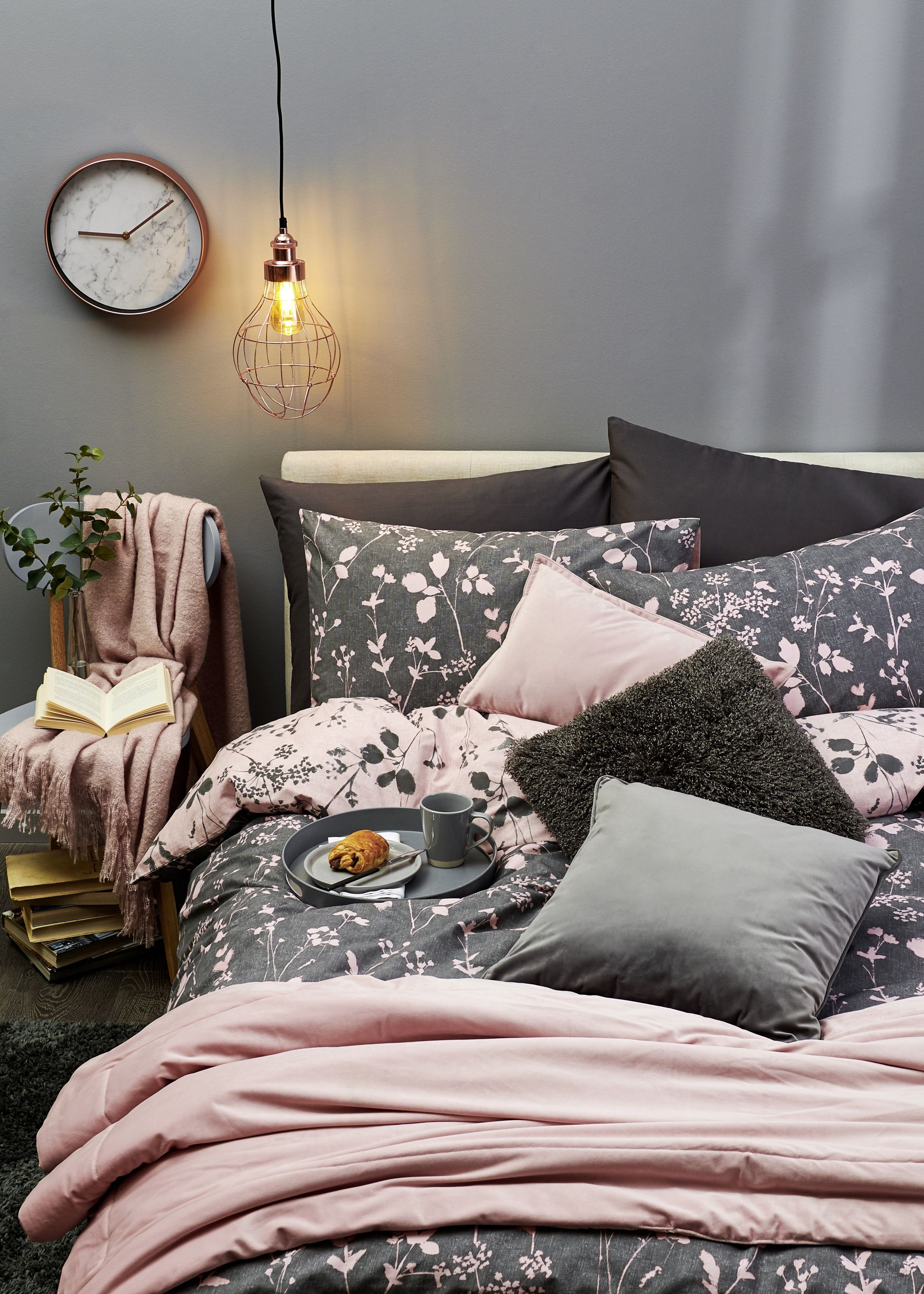 Pink and Grey Ink Brush Floral Double Duvet Set Pink and
