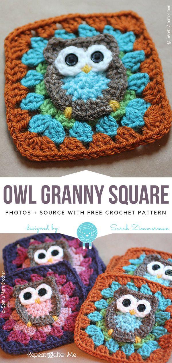 Eule Oma Square Free Häkelanleitung | Häkeln | Pinterest | Crochet ...