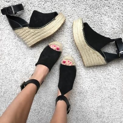 65930a292732 New Trend Summer Sandals Platform Wedge. Espadrille Suede. Marc Fisher LTD  Adalyn- Black