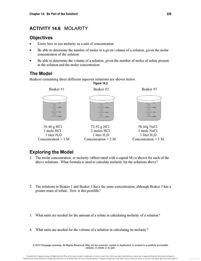 Molarity M Worksheet Answers - worksheet